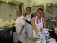 restaurant workers with Guadalupe Ayala